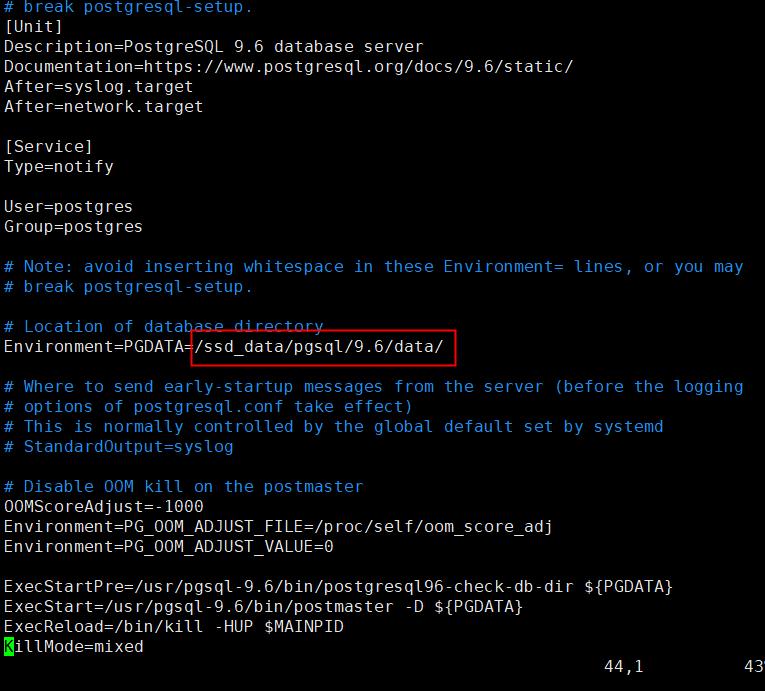 postgresql修改数据存储位置